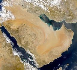 Zdjęcie satelitarne Półwyspu Arabskiego