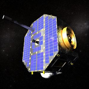 Wizualizacja komputerowa przedstawiająca sondę IBEX na orbicie wokółziemskiej. (Źródło: NASA, The IBEX Team)
