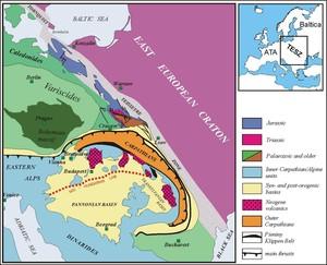 Szkic tektoniczny Europy Centralnej przedstawiający główne elementy tektoniczne tej części Europy, tworzone przez trzy megajednostki: platformę wschodnioeuropejską, platformę Centralnej i Zachodniej Europy oraz Karpaty. Te trzy główne systemy tektoniczne kontynentu europejskiego stykają się na obszarze południowo-wschodniej Polski. (Źródło: IGF PAN)