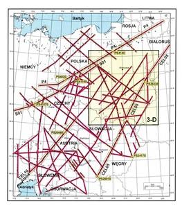 Szkic lokalizacji sejsmicznych profili refrakcyjnych na obszarze Europy Centralnej, wzdłuż których w latach 1997-2003 zrealizowano sejsmiczne badania głębokich struktur skorupy ziemskiej, w ramach projektów międzynarodowych POLONAISE '97, CELEBRATION 2000, ALP 2002, SUDETES 2003. (Źródło: IGF PAN)