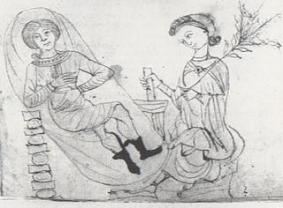 """Ilustracja z XIII-wiecznego """"Herbarium"""" Pseudo-Apulejusza przedstawiająca przygotowywanie ziół poronnych i oczekującą na nie ciężarną. Źródło: John M. Riddle, Contraception and Abortion from the Ancient World to the Renaissance"""