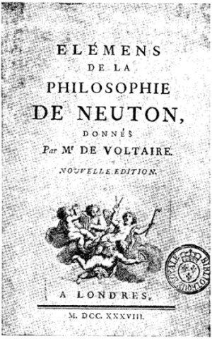 Karta tytułowa pierwszego wydania Elementów filozofii Newtona
