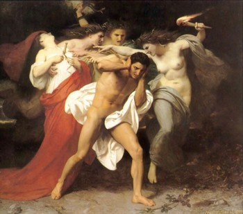 Orestes dręczony przez Furie: William-Adolphe Bouguereau (1825-1905) — The Remorse of Orestes (1862) (Wyrzuty Sumienia Orestesa)