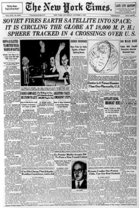 New York Times informuje o wystrzeleniu przez ZSRR pierwszego sztucznego satelity Ziemi. Październik 1957