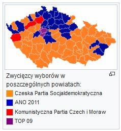 ANO w 2013 wygrała głównie na północy Czech, w regionach sąsiadujących z Polską