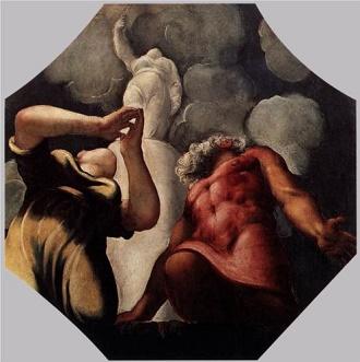 Deukalion, mityczny dobry i sprawiedliwy król Tesalii, syn Prometeusza, wraz ze swą małżonką Pyrrą modlą się przed posągiem bogini Temidy. Razem z małżonką Pyrrą przetrwali potop zesłany przez Zeusa. Obraz Tintoretto z 1542