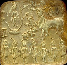 """Scena prawdopodobnie mitologii """"zodiakalnej"""", z siedmioma postaciami, prototypami Matrik u dołu"""