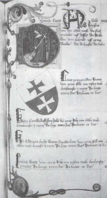 Iluminowana karta księgi łąkowej z 1421 r. Fot. M. Gawryluk. Repr. ze zbiorów Muzeum w Elblągu