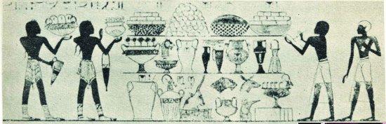 Lud Keftiu (po lewej) oraz inne ludy przynoszące dary Egiptowi