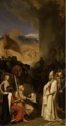 Artystyczne wyobrażenie wzięcia do niewoli papieża Leona IX przez Umfroy'a i Roberta Guiscarda w dniu 18 czerwca 1053 r.