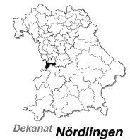 Mapka Bawarii z dekanatem Nördlingen