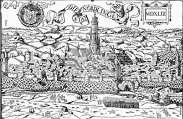 Szkic przedstawiający Nördlingen w Bawarii