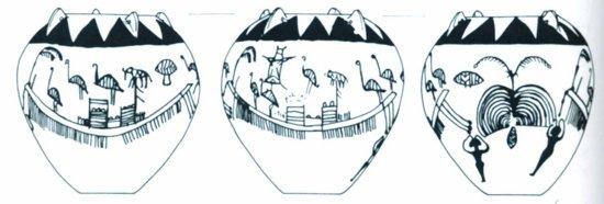 Malunek na ceramice, przedstawiający łodzie, okres predynastyczny, Egipt.
