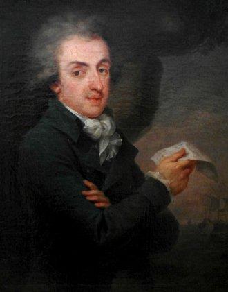 Prot z rachunkiem na tle statków handlowych, portret pędzla Grassiego
