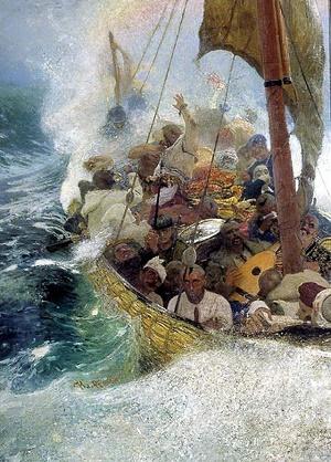 Kozacy żeglowali po Morzu Czarnych w niewielkich czajkach. Obraz: Ilja Riepin