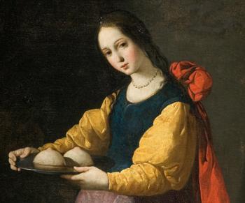 Sztuka sakralna często przedstawia św. Agatę z odciętymi piersiami na tacy