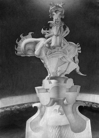 Projekt posągu Światowida opracowany przez Stanisława Szukalskiego w 1936 w ramach Projektu Duchtynii na dnie Smoczej Jamy w Krakowie