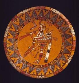 Talerz z przedstawieniem muzyka grającego na trąbie. Metropolitan Museum of Art, New York