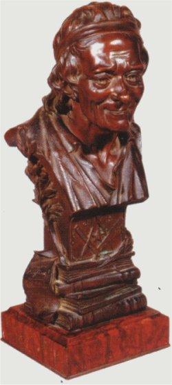 Masońskie popiersie Woltera. Wolter u schyłku życia wstąpił do loży wolnomularskiej