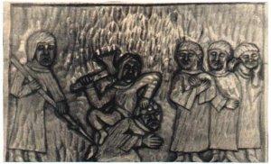 Mord św. Wojciecha — drzeworyt.